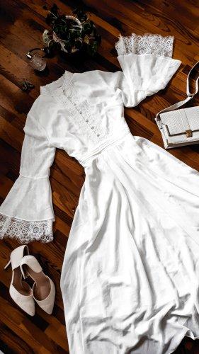 Traumhaftes weißes Kleid Chiffon Spitze Boho Trompetenärmel