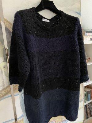 Brunello Cucinelli Maglione girocollo blu scuro-nero Cotone