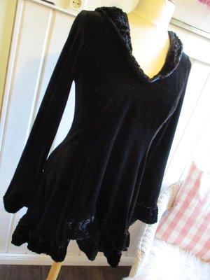 Vestido con capucha negro tejido mezclado