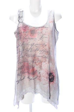 Tredy A-Linien Top hellgrau-pink abstraktes Muster Casual-Look