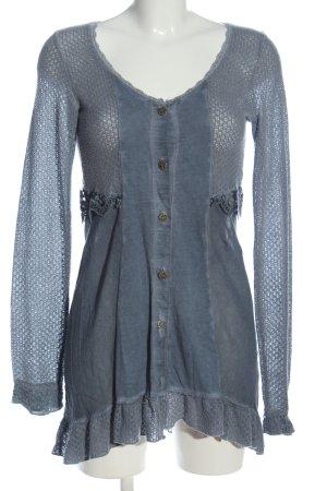 Tredy Langarm-Bluse blau meliert Elegant