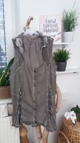 Tredy Damen graue ärmelose Bluse-Weste Gr. 4XL, 48