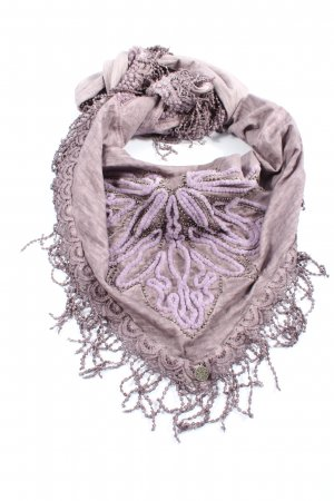 Tredy Fringed Scarf light grey-pink abstract pattern extravagant style