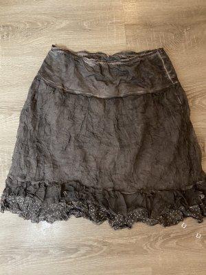 Tredy Plaid Skirt silver-colored-dark grey mixture fibre