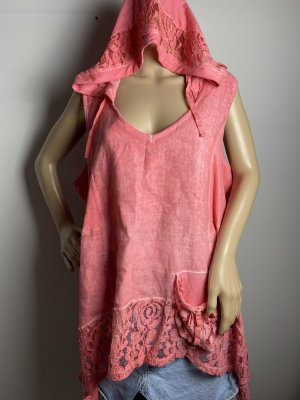 tredy gr 46 damen tunika kleid oberteil mit kaputze rosa damen