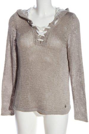 Tredy Crochet Sweater light grey casual look