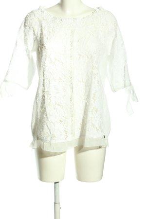 Tredy Crochet Shirt white flower pattern casual look