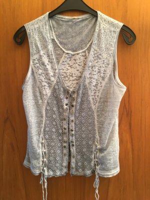 Tredy Veste à franges gris clair-bleu pâle coton