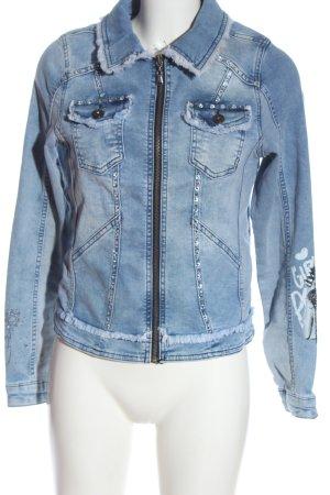 Tredy Denim Jacket blue themed print casual look