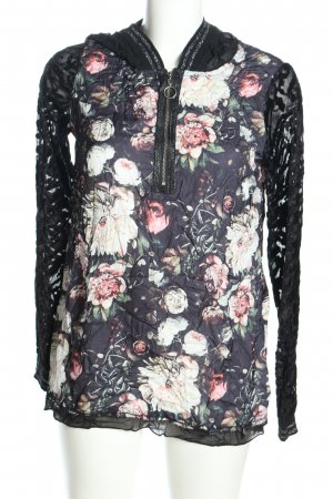 Tredy Kapuzenshirt schwarz-pink Blumenmuster Casual-Look