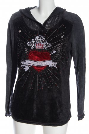 Tredy Hooded Sweatshirt themed print casual look