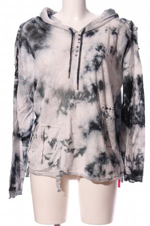 Tredy Hooded Sweatshirt light grey-black abstract pattern casual look