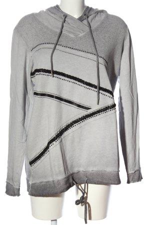 Tredy Kapuzensweatshirt hellgrau-schwarz Farbverlauf Casual-Look