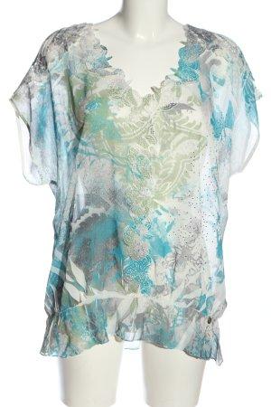 Tredy Kurzarm-Bluse weiß-blau abstraktes Muster Casual-Look