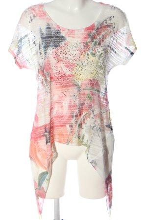 Tredy Camicetta a maniche corte bianco-rosa motivo astratto stile casual