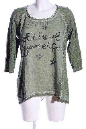 Tredy Langarm-Bluse khaki Schriftzug gedruckt Casual-Look