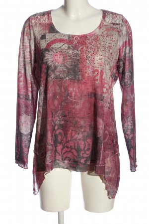 Tredy Langarm-Bluse pink-creme Allover-Druck Casual-Look