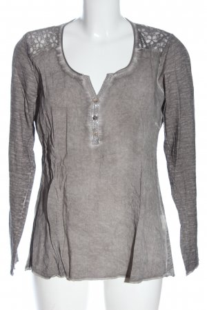Tredy Camicetta a maniche lunghe grigio chiaro puntinato stile casual