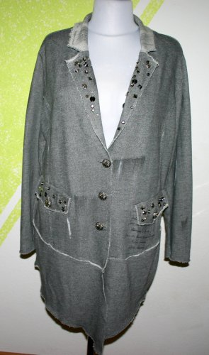 Tredy leichte Jacke/Mantel grau Nieten viele Details Uselook Patches  Gr 48