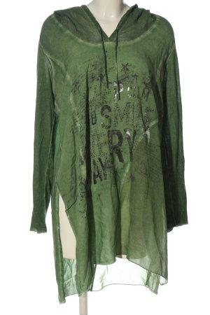 Tredy Camicia con cappuccio verde Stampa a tema stile casual