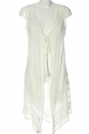 Tredy Long Knitted Vest white casual look