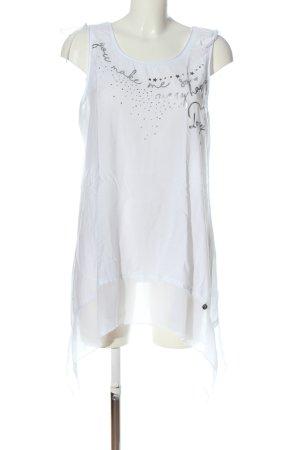 Tredy Longtop weiß-silberfarben Schriftzug gedruckt Casual-Look
