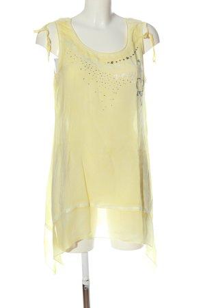 Tredy Długi top bladożółty Wydrukowane logo W stylu casual