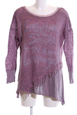 Tredy Rundhalspullover lila Schriftzug gedruckt Casual-Look