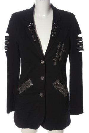 Tredy Strickblazer schwarz-silberfarben Motivdruck extravaganter Stil