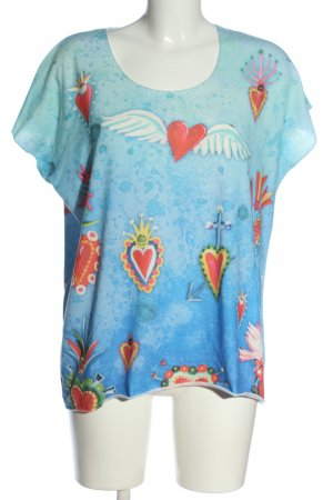 Tredy Knitted Jumper blue-red allover print casual look