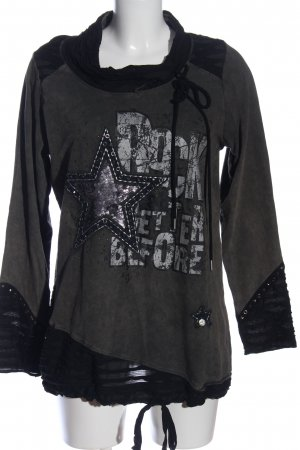 Tredy Sweatshirt zwart-lichtgrijs prints met een thema casual uitstraling