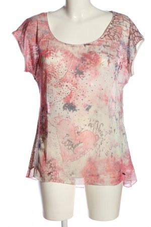 Tredy Transparenz-Bluse weiß-pink abstraktes Muster Casual-Look
