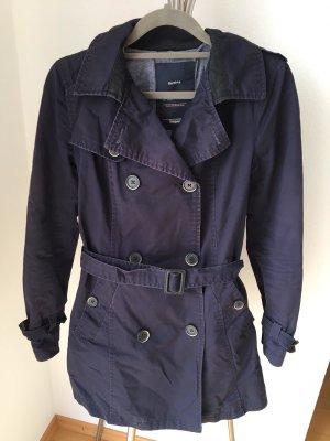 Bershka Trench Coat blue-dark blue mixture fibre