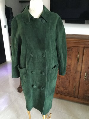 Manteau en cuir vert forêt-vert