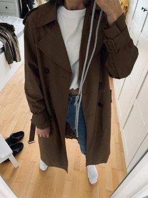 H&M Długa kurtka ciemnobrązowy-czarno-brązowy