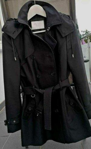 Zara Woman Manteau à capuche noir-argenté