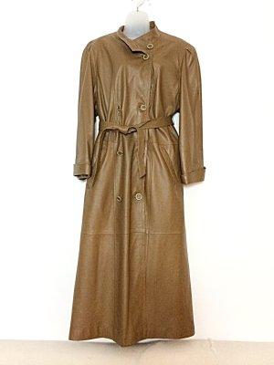 Trenchcoat Mantel Leder Lammnappa Vintage 70er onesize oversized Camel