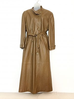 Vintage Leren jas camel-lichtbruin Leer