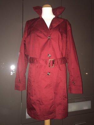 C&A OUTERWEAR Trenchcoat rouge foncé coton