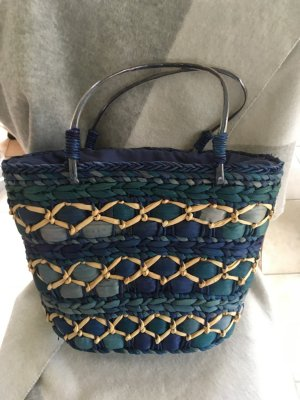 Made in Italy Basket Bag cream-steel blue mixture fibre