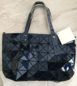 Trend Bao PU-Leder Blogger Tasche Schultertasche Shopper faltbar dunkel blau