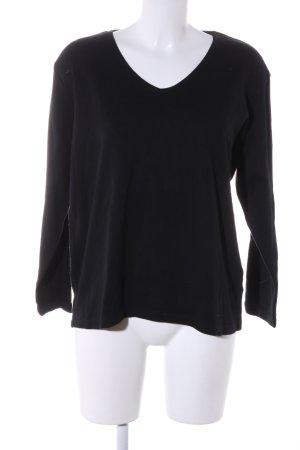 TREND Collection Jersey con cuello de pico negro look casual