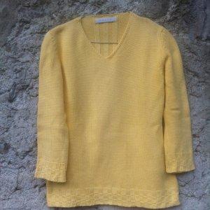 Belfe 1920 Sweter z dekoltem w kształcie litery V ciemny żółty Bawełna