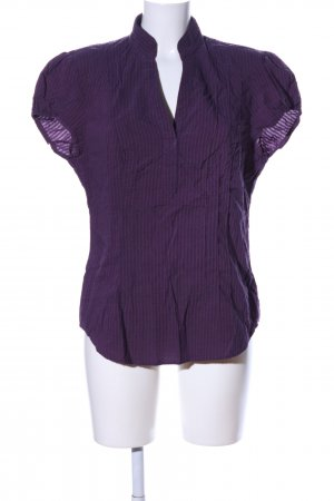 Trend Kurzarm-Bluse lila Streifenmuster Business-Look