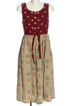 Trend Line Vestido Dirndl rojo-crema Mezcla de patrones elegante