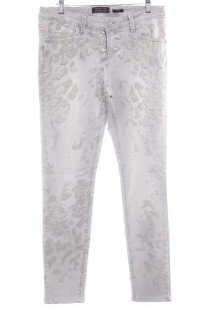 Trend Line Slim Jeans hellgrau-goldfarben Animalmuster Casual-Look