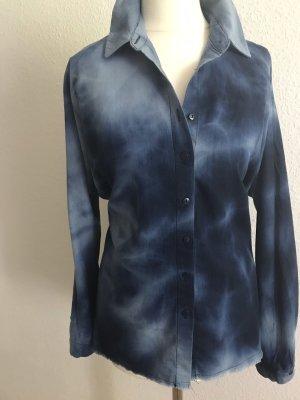 Zara Woman Blouse en jean bleu foncé-bleu azur
