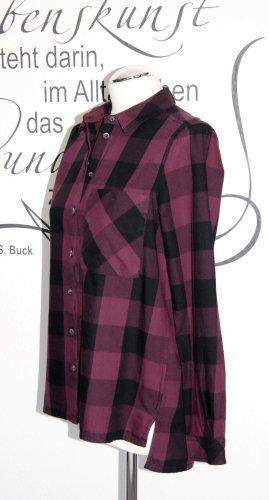 Trendige Karo-Bluse in Aubergine und Schwarz (100% Baumwolle) - In sehr gutem Zustand!