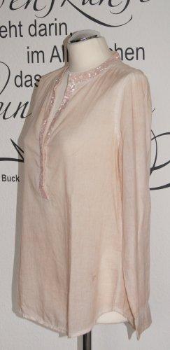 Trendige rosafarbene Tunikabluse mit Pailletten (100% Baumwolle) - NEU!!