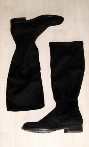 Trendige schwarze Stiefel in Veloursleder-Optik (Schafthöhe 42cm/-breite 17,5cm) - NEU!!